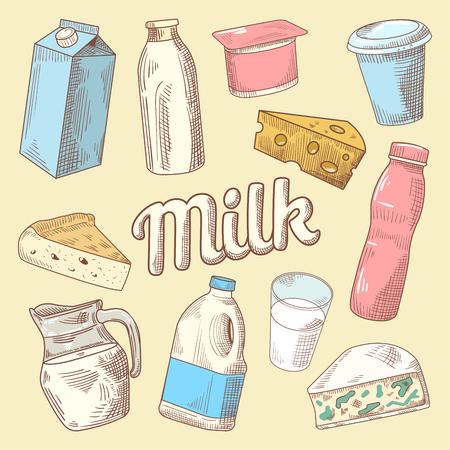 牛乳、チーズ、ヨーグルトの乳製品手描き落書き。健康的な食事。ベクトル図