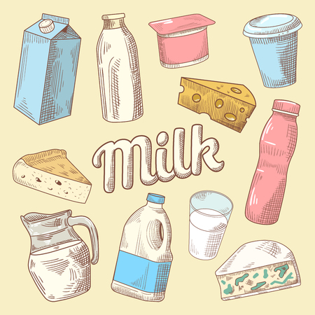 Dairy Products Hand Drawn Doodle with Milk, Cheese and Yogurt. Healthy Eating. Vector illustration