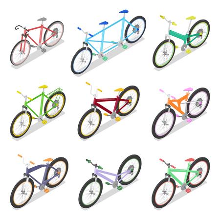 Isometrische fietsset met mountainbike en driewieler. Stadsvervoer. Vector platte 3d illustratie