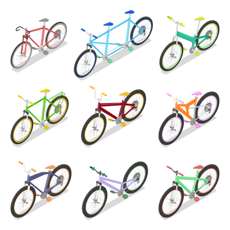 Isometric Bicycle Set with Mountain Bike and Tricycle. City Transport. Vector flat 3d illustration Illustration