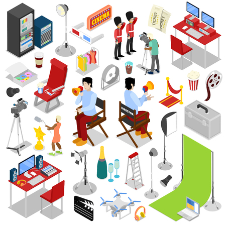 motion picture: Isometric Cinema Production. Making Movie with Director and Cameraman. Vector flat 3d illustration