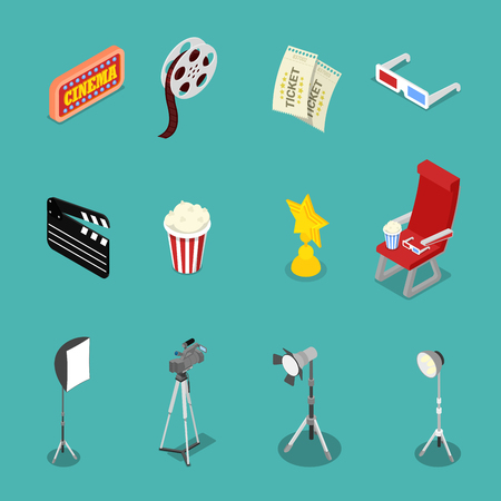 Isometric Cinema Icons with Film Reel, Glasses and Movie Making Equipment. Vector flat 3d illustration Illustration
