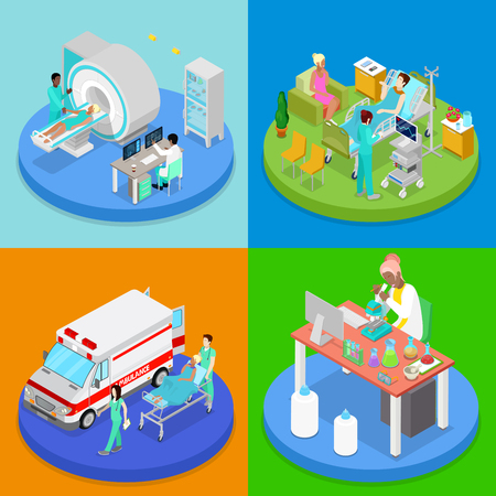 Isometric Medical Clinic. Health Care Concept. Hospital Room, Ambulance Emergency Service, MRI. Vector flat 3d illustration 向量圖像