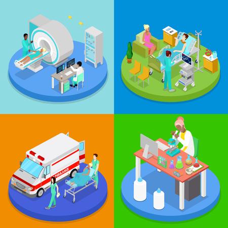 Isometric Medical Clinic. Health Care Concept. Hospital Room, Ambulance Emergency Service, MRI. Vector flat 3d illustration Illustration