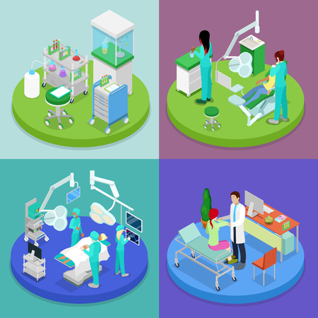 Isometric Medical Clinic. Health Care Concept. Hospital, Dentist, Operating Room. Vector flat 3d illustration