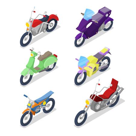 아이소 메트릭 오토바이 Motocross와 바이 커 자전거를 사용 하여 설정합니다. 벡터 플랫 3d 일러스트 레이션 스톡 콘텐츠 - 80035098