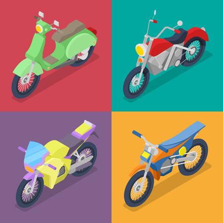 아이소 메트릭 오토바이 Motocross와 스쿠터를 사용 하여 설정합니다. 벡터 플랫 3d 일러스트 레이션