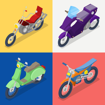 Isometric Motorcycle Set with Mountaine Bike and Scooter. Vector flat 3d illustration