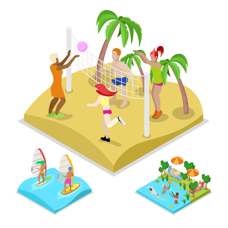 water polo: Isometric Outdoor Beach Volleyball, Surfing and Water Polo. Healthy Lifestyle and Recreation. Vector flat 3d illustration
