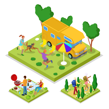 cookout: Isometric Outdoor Activity. Camping and Barbeque. Healthy Lifestyle and Recreation. Vector flat 3d illustration Illustration