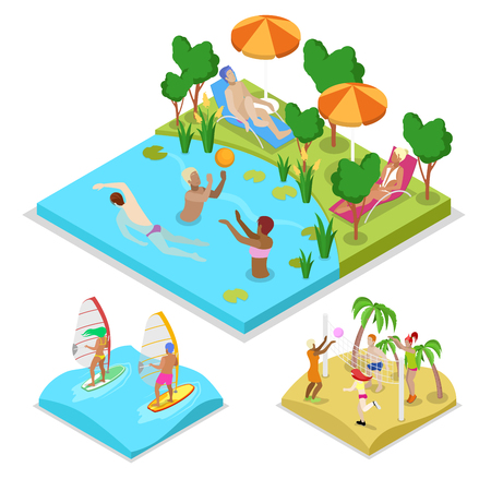 Isometric Outdoor Activity Water Polo, Surfing and Beach Volleyball. Healthy Lifestyle and Recreation. Vector flat 3d illustration