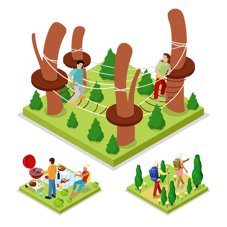 Isometric Outdoor Activity. Rope Park and Barbeque. Healthy Lifestyle and Recreation. Vector flat 3d illustration Ilustração