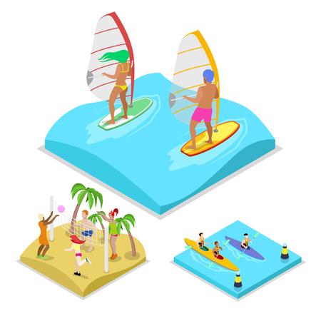 Isometrische Outdoor-Aktivität Surfen, Kajak und Beach-Volleyball. Gesunder Lebensstil und Erholung. Vektor flache 3D-Darstellung Standard-Bild - 80035138