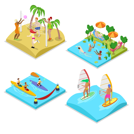 water polo: Isometric Outdoor Sea Beach Activity. Kayaking, Beach Volleyball, Surfing and Water Polo. Healthy Lifestyle and Recreation. Vector flat 3d illustration