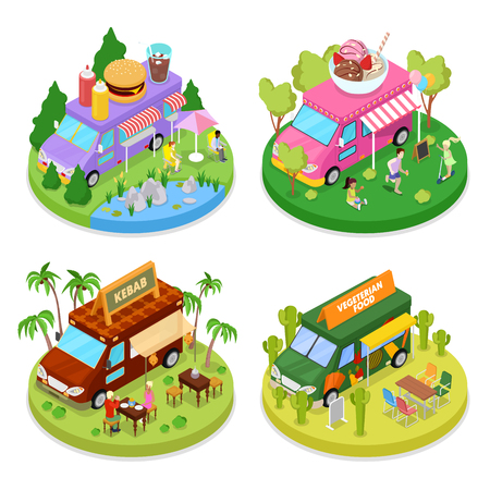 Isometric Street Food Truck Set with Vegeterian Food, Kebab and Ice Cream Cafe. Vector flat 3d illustration