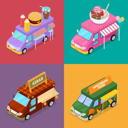 Isometric Street Food Trucks with Vegeterian Food, Burger, Kebab and Ice Cream Cafe. Vector flat 3d illustration