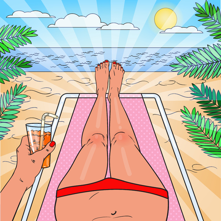 Pop Art Woman Relaxing on the Beach. Bikini Tropical View. Vector illustration Illustration