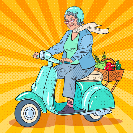 Pop Art Senior Woman Riding Scooter. Lady Biker. Vector illustration Vettoriali