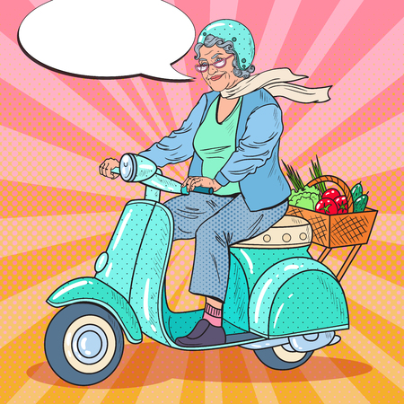 Pop Art Happy Senior Woman Riding Scooter. Lady Biker. Vector illustration