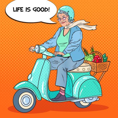 Pop Art Happy Senior Woman Riding Scooter met mandje met groenten. Lady Biker. Vector illustratie