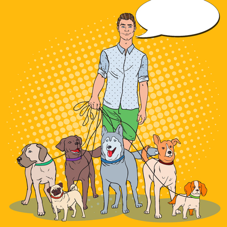 Pop Art Man Dog Walker. Vector illustration