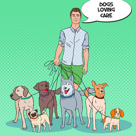 Pop Art Man Dog Walker. Pets Care. Vector illustration