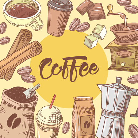 Coffee Hand Drawn Doodle with Coffee Cup, Sugar and Chocolate. Food and Drink. Vector illustration Çizim