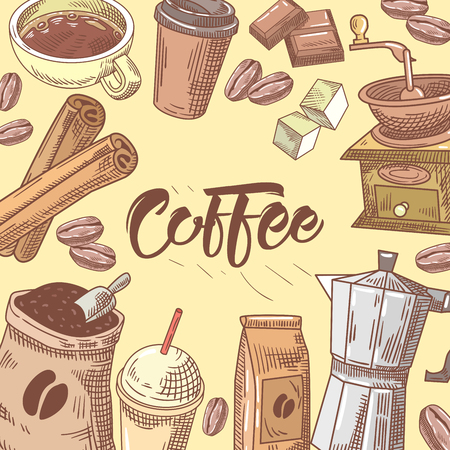 Coffee Hand Drawn Background with Coffee Cup, Sugar and Chocolate. Food and Drink. Vector illustration