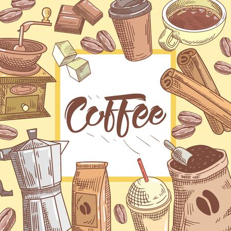 Café mano dibujó fondo con taza de café, canela y chocolate. Comida y bebida. Ilustración del vector Foto de archivo - 80035241
