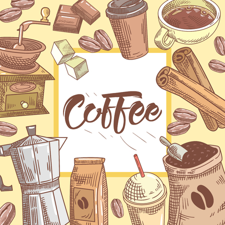 Coffee Hand Drawn Background with Coffee Cup, Cinnamon and Chocolate. Food and Drink. Vector illustration Çizim