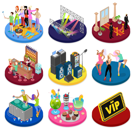 Isometric Party Concept. Night Club Dancing, Disco DJ, Corporate Celebration. Vector flat 3d illustration 向量圖像
