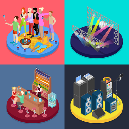 Isometric Party Concept. Night Club Scene, Bar, Corporate Celebration. Vector flat 3d illustration
