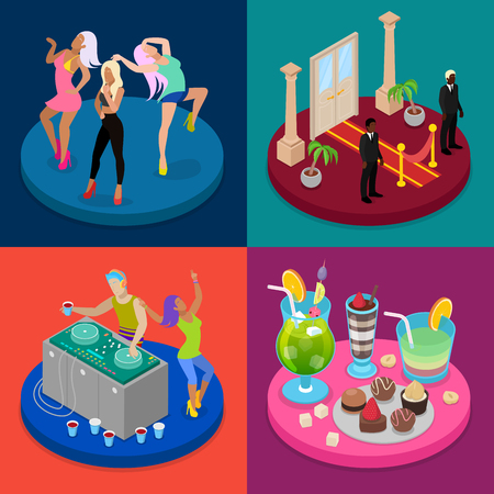 Isometric Party Concept. Night Club, Disco DJ, Dancing Woman. Vector flat 3d illustration