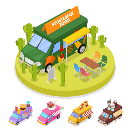 cookout: Isometric Street Vegeterian Food Truck with People. Vector flat 3d illustration