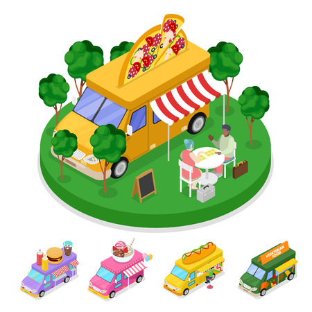 Isometric Street Food Pizza Truck with People. Vector flat 3d illustration Illustration