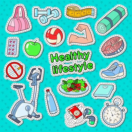 Gesunder Lebensstil Sport Doodle mit Fitnessstudio, Speisen und Vitaminen für Drucke, Aufkleber und Abzeichen Vektor-Illustration