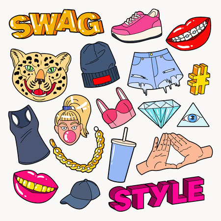 Swag Style Teenage Fashion Doodle with Lips, Hands and Accessories. Vector illustration Illustration