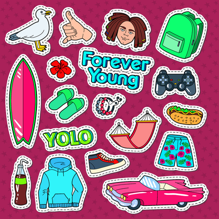 youngster: Teenager Lifestyle Doodle with Surf, Pink Car and Fast Food fot Stickers, Patches and Badges. Vector illustration
