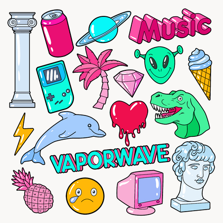 Vaporwave Teenager Style Doodle with Dinosaur, Computer and Ice Cream. Vector illustration Illusztráció