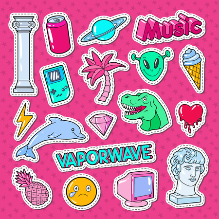Vaporwave Teenager Style Doodle with Dinosaur, Computer and Ice Cream for Stickers, Badges and Patches. Vector illustration