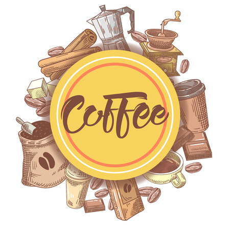 coffee beans: Coffee Hand Drawn Design with Coffee Beans, Sugar and Pot. Food and Drink. Vector illustration