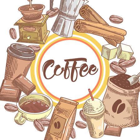 Café dibujado a mano diseño con granos de café, azúcar y canela. Comida y bebida. Ilustración vectorial Foto de archivo - 80475382