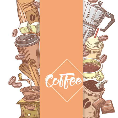 coffee beans: Coffee Hand Drawn Design with Coffee Beans, Sugar and Cinnamon. Food and Drink. Vector illustration