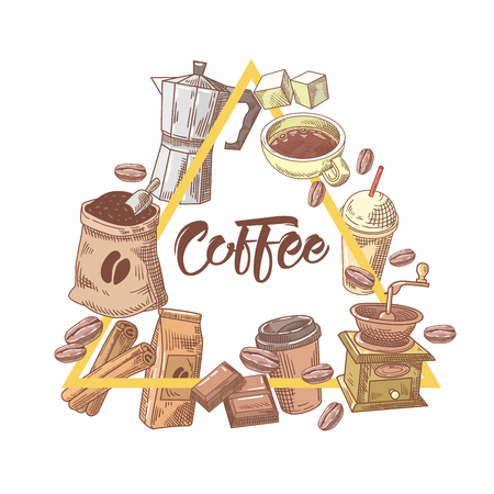 Coffee Hand Drawn Design with Cup, Sugar and Cinnamon. Food and Drink. Vector illustration Çizim
