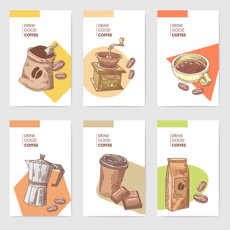 Coffee Hand Drawn Cards Brochure Menu with Beans, Pot and Chocolate. Food and Drink. Vector illustration Çizim