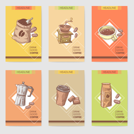 Coffee Hand Drawn Cards Brochure Menu with Coffee Beans, Pot and Chocolate. Food and Drink. Vector illustration Çizim