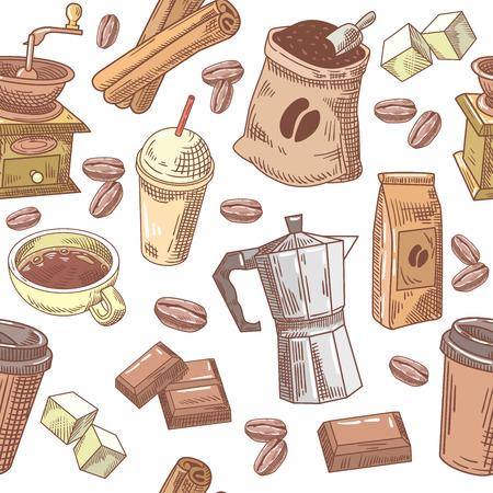 Café fondo dibujado a mano sin fisuras con frijoles, azúcar y chocolate. Patrón de vector Foto de archivo - 80475386