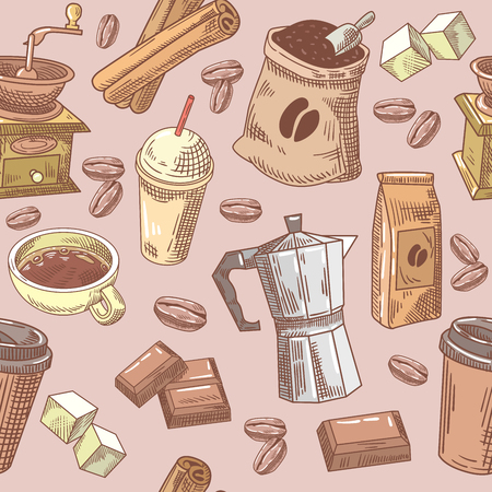 Coffee Hand Drawn Seamless Background with Beans, Sugar and Chocolate. Food and Drink. Vector pattern