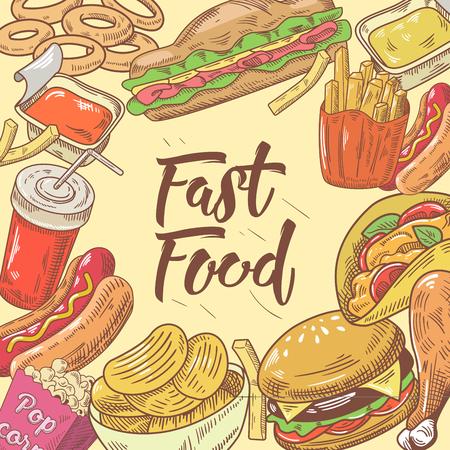 햄버거, 핫도그 및 음료와 패스트 푸드 손으로 그려진 디자인. 건강에 해로운 식사. 벡터 일러스트 레이 션
