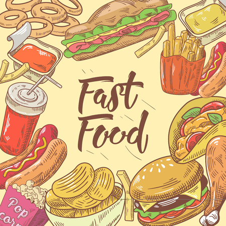 Fast Food Hand Drawn Design with Burger, Hot Dog and Drink. Unhealthy Eating. Vector illustration Ilustração